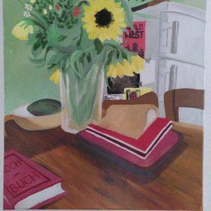 Des fleurs dans la cuisine